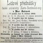 6. dubna 1902 - Masaryk přednášel v Národním domě v Ostravě